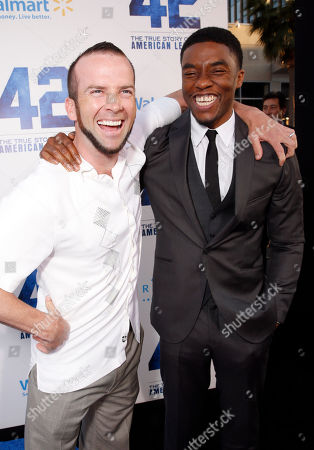 "Lucas Black and Chadwick Boseman arrive at the LA premiere of ""42"" at the TCL Chinese Theater on in Los Angeles"