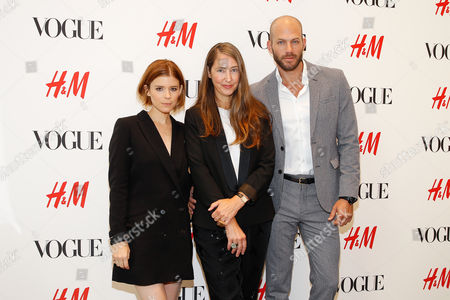 Actress Kate Mara, H&M's Head of Design Ann-Sofie Johansson, and stylist Johnny Wujek seen at the VOGUE and H&M fashion week kickoff at H&M on 5th ave on in New York