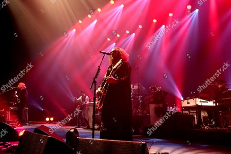 Carl Broemel, from left, Tom Blankenship, Patrick Hallahan, Jim James and Bo Koster of the band My Morning Jacket perform in concert during their The Waterfall / Spontaneous Curation Series II Tour 2015 at the Tower Theater, in Upper Darby, Pa