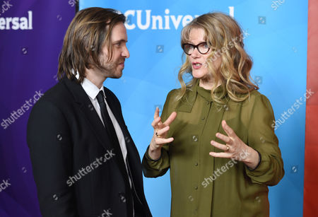 """Aaron Stanford, left, and Barbara Sukowa, cast members in the Syfy series """"12 Monkeys,"""" mingle at the NBCUniversal Cable 2015 Winter TCA Press Tour at The Langham Huntington Hotel, in Pasadena, Calif"""