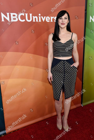 """Kyra Zagorsky, a cast member in the Syfy series """"Helix,"""" pose together at the NBCUniversal Cable 2015 Winter TCA Press Tour at The Langham Huntington Hotel, in Pasadena, Calif"""