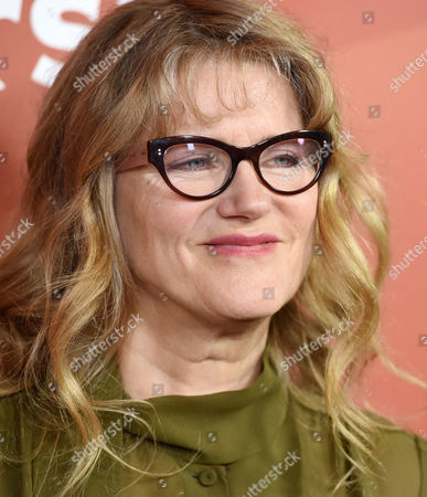 """Barbara Sukowa, a cast member in the Syfy series """"12 Monkeys,"""" poses at the NBCUniversal Cable 2015 Winter TCA Press Tour at The Langham Huntington Hotel, in Pasadena, Calif"""