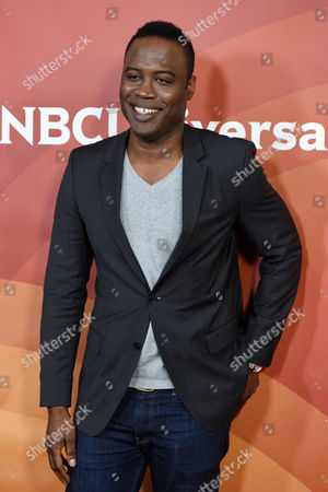 """Kevin Daniels, a cast member in the USA series """"Sirens,"""" poses at the NBCUniversal Cable 2015 Winter TCA Press Tour at The Langham Huntington Hotel, in Pasadena, Calif"""