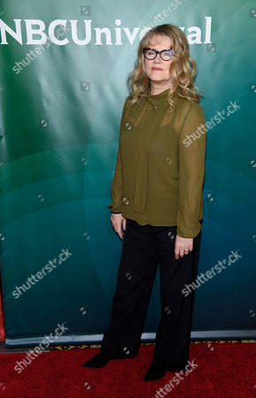 """Barbara Sukowa, a cast member in the Syfy television series """"12 Monkeys,"""" poses at the NBCUniversal Cable 2015 Winter TCA Press Tour at The Langham Huntington Hotel, in Pasadena, Calif"""