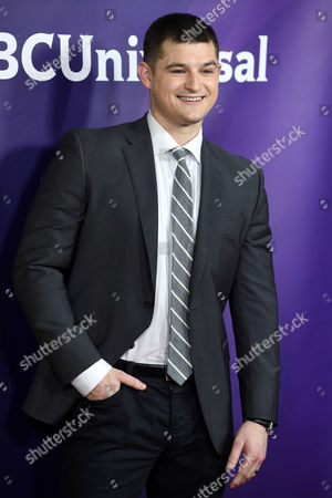 """Kevin Bigley, a cast member in the USA series """"Sirens,"""" poses at the NBCUniversal Cable 2015 Winter TCA Press Tour at The Langham Huntington Hotel, in Pasadena, Calif"""