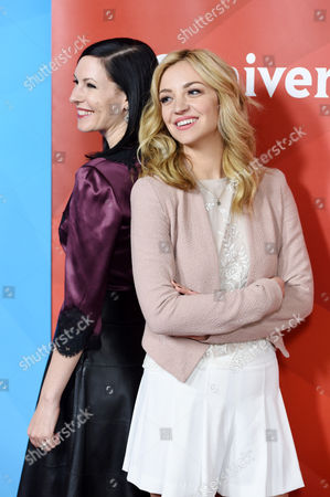 "Stock Photo of Jill Kargman, left, and Abby Elliot, cast members in the Bravo series ""Odd Mom Out,"" pose together at the NBCUniversal Cable 2015 Winter TCA Press Tour at The Langham Huntington Hotel, in Pasadena, Calif"