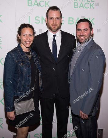 "Adam Salky, center, with his sister and brother attend a special screening of ""I Smile Back"" at The Museum of Modern Art, in New York"