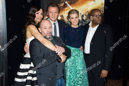 """Stock Image of Famke Janssen, from left, Olivier Megaton, Liam Neeson, Maggie Grace and Forest Whitaker attend a """"Taken 3"""" screening on in New York"""