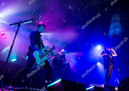 Jacoby Shaddix, Jerry Horton, Tobin Esperance and Tony Palermo with Papa Roach performs at The Tabernacle, in Atlanta