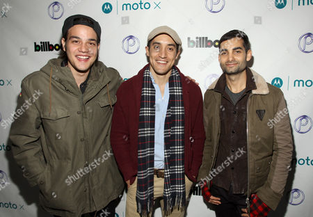 From left, Daniel Zovatto, Keahu Kahuanui, and Brandon Alter are seen at PCL Day Lounge Day 2 on in Park City, Utah