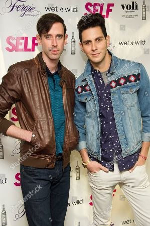 Stock Photo of Ryland Blackinton, left, and Gabe Saporta from the band Cobra Starship attend a party to celebrate Fergie's appearance on the July cover of SELF Magazine, on in New York