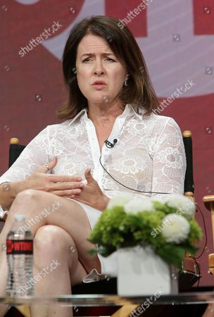 """Michelle Ashford, Writer/Executive Producer of """"Masters of Sex"""", speaks at Showtime 2016 Summer TCA Press Tour at The Beverly Hilton Hotel, in Los Angeles"""