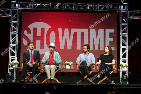 Mark Halperin and Mark McKinnon, Executive Producers and hosts of 'The Circus', speak on panel with Josh Kriegman and Elyse Steinberg, Director/Writers of 'Weiner', at Showtime 2016 Summer TCA Press Tour at The Beverly Hilton Hotel, in Los Angeles