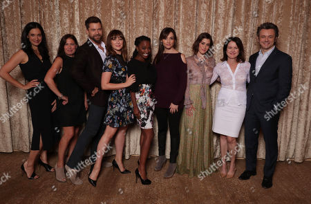 """Sarah Treem, Writer/Executive Producer of """"The Affair"""", Maura Tierney, Joshua Jackson, Isidora Goreshter, Shanola Hampton, Nancy Pimental, Writer/Executive Producer of """"Shameless"""", Lizzy Caplan, Michelle Ashford, Writer/Executive Producer of """"Masters of Sex"""", and Michael Sheen are seen at Showtime 2016 Summer TCA Press Tour at The Beverly Hilton Hotel, in Los Angeles"""
