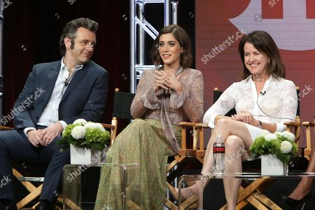 """Michael Sheen, Lizzy Caplan and Michelle Ashford, Writer/Executive Producer of """"Masters of Sex"""", speak at Showtime 2016 Summer TCA Press Tour at The Beverly Hilton Hotel, in Los Angeles"""