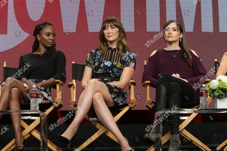 "Shanola Hampton, Isidora Goreshter and Nancy Pimental, Writer/Executive Producer of ""Shameless"", speak at Showtime 2016 Summer TCA Press Tour at The Beverly Hilton Hotel, in Los Angeles"