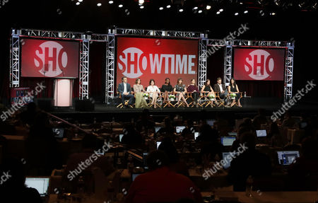 """Michael Sheen, Lizzy Caplan, Michelle Ashford, Writer/Executive Producer of """"Masters of Sex"""", Shanola Hampton, Isidora Goreshter, Nancy Pimental, Writer/Executive Producer of """"Shameless"""", Maura Tierney, Joshua Jackson and Sarah Treem, Writer/Executive Producer of """"The Affair"""", speak at Showtime 2016 Summer TCA Press Tour at The Beverly Hilton Hotel, in Los Angeles"""