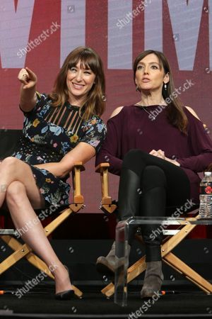 """Isidora Goreshter and Nancy Pimental, Writer/Executive Producer of """"Shameless"""", speak at Showtime 2016 Summer TCA Press Tour at The Beverly Hilton Hotel, in Los Angeles"""