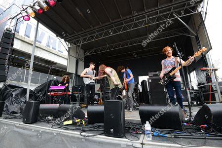 Alex Kandel, Tony Smith, Justin Wilson, Lee Williams, Scott Gardner and Josh Martin with Sleeper Agent performing at the Shaky Knees Music Festival, in Atlanta