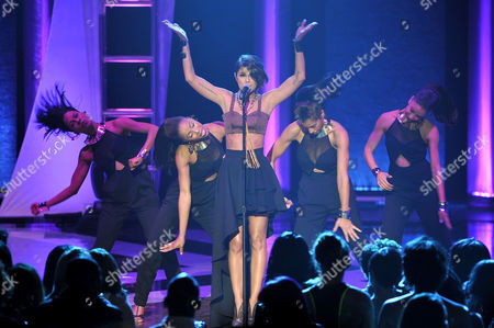 This photo shows singer Leah LaBelle performing at the Soul Train Awards at Planet Hollywood Resort and Casino in Las Vegas