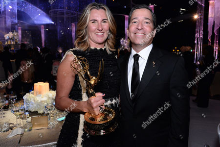 Nancy Dubuc and Television Academy Chairman, Bruce Rosenblum attend the Governors Ball for the Television Academy's Creative Arts Emmy Awards at LA Convention Center, in Los Angeles