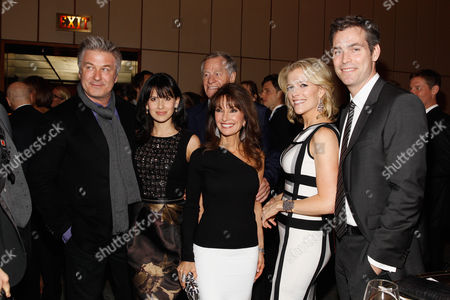 From left, Alec Baldwin, Hilaria Baldwin, Helmut Huber, Susan Lucci, Megyn Kelly and Douglas Brunt are seen at The 35 Most Powerful People in Media hosted by The Hollywood Reporter on in New York, New York