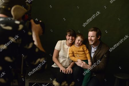 Joe Swanberg, right, Kris Swanberg, and their son Jude Swanberg, seen at The Hollywood Reporter Lounge, on in Park City, Utah