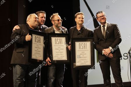 Stock Photo of Bart Herbison, left, stands with Mark Irwin, Andrew Dorff, Josh Kear and Lee Thomas Millerat The Nashville Songwriters Hall of Fame Dinner and Induction Ceremony at the Music City Center, in Nashville, Tenn