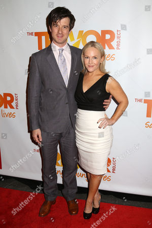 Christian Hebel, left. and Rachael Harris attend the TrevorLIVE Benefit at the Marriott Marquis, in New York