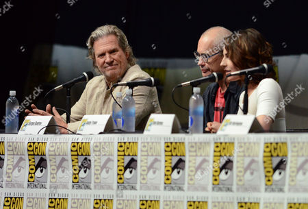 "Jeff Bridges, left, Sergey Bodrov, center, and Antje Traue attend the ""Seventh Son"" panel on Day 4 of Comic-Con International on in San Diego"