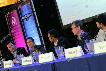 Stock Picture of Matt Belloni, Chris deFaria, Namit Malhotra, Mike Simpson and Palak Patel, left to right, speak at the Produced by Conference on in Los Angeles