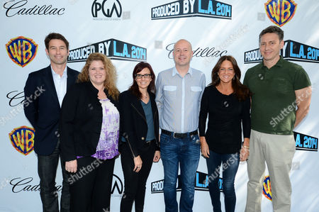Jason Janego, and from left, Melanie Miller, Lesley Chilcott, Sam Toles, Cathy Schulman and John Sloss attend the Produced By Conference - Day 2 at Warner Bros. Studios, in Burbank, Calif