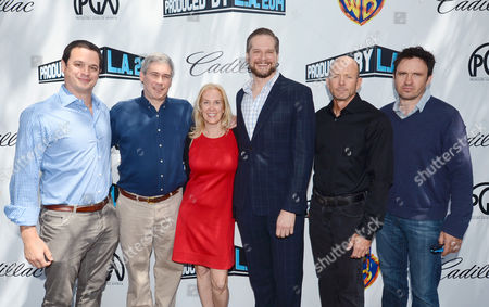 David Alpert, and from left, Christopher Keyser, president of the Writers Guild of America, Susan Sprung, associate national executive director of the Producers Guild of America, Bryan Fuller, Scott Stephens and Alex Cary attend the Produced By Conference - Day 2 at Warner Bros. Studios, in Burbank, Calif