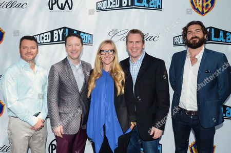 Chris Thomes, and from left, Michael Klein, Laura Allen, John P. Roberts and Erick Opeka attend the Produced By Conference - Day 2 at Warner Bros. Studios, in Burbank, Calif