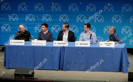 Scott Stephens, and from left, Alex Cary, Bryan Fuller, David Alpert and Christopher Keyser, president of the Writers Guild of America, speak on stage at the Produced By Conference - Day 2 at Warner Bros. Studios, in Burbank, Calif