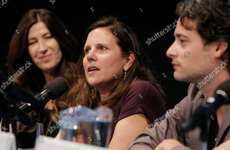 Rena Ronson, and from left, Lydia Dean Pilcher and Stephan Paternot speak on stage at the Produced By Conference - Day 2 at Warner Bros. Studios, in Burbank, Calif