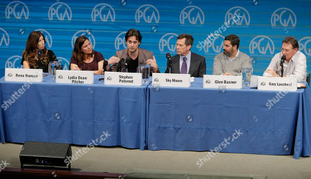 Rena Ronson, and from left, Lydia Dean Pilcher, Stephan Paternot, Sky Moore, Glen Basner and Gary Lucchesi speak on stage at the Produced By Conference - Day 2 at Warner Bros. Studios, in Burbank, Calif