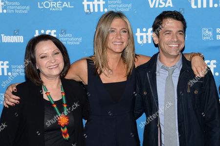 """Adriana Barraza, and from left, Jennifer Aniston and Daniel Barnz attend the press conference for """"Cake"""" on day 6 of the Toronto International Film Festival at the TIFF Bell Lightbox, in Toronto"""