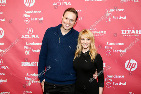 "Co-writers Melissa Rauch, right, and Winston Rauch, left, pose at the premiere of ""The Bronze"" during the 2015 Sundance Film Festival, in Park City, Utah"