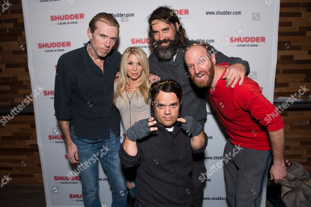 From left, Richard Brake, Elizabeth Daily, Pancho Mole, Jeff Daniel Phillips, and David Ury pose at the Shudder/Midnight party during the 2016 Sundance Film Festival, in Park City, Utah