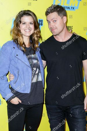 "Priscilla Faia, left, and Greg Poehler arrive at the screening of ""You Me Her"" during South By Southwest at the Austin Convention Center, in Austin, Texas"