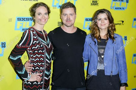 "Rachel Blanchard, from left, Greg Poehler and Priscilla Faia arrive at the screening of ""You Me Her"" during South By Southwest at the Austin Convention Center, in Austin, Texas"