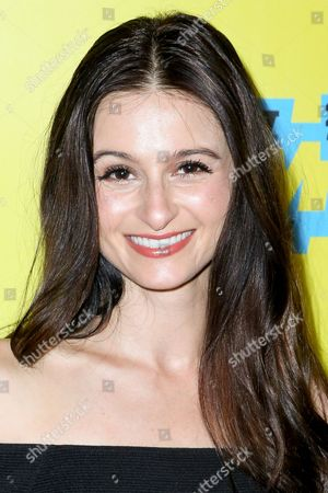 """Melanie Papalia arrives at the screening of """"You Me Her"""" during South By Southwest at the Austin Convention Center, in Austin, Texas"""
