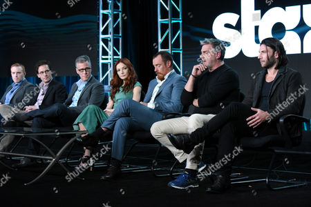 Stock Photo of Executive producer/showrunner Jonathan E. Steinberg, from left, executive producers Robert Levine and Brad Fuller, Clara Paget, Toby Stephens, Ray Stevenson and Zach McGowan participate in the panel for 'Black Sails' at the STARZ 2016 Winter TCA, in Pasadena, Calif