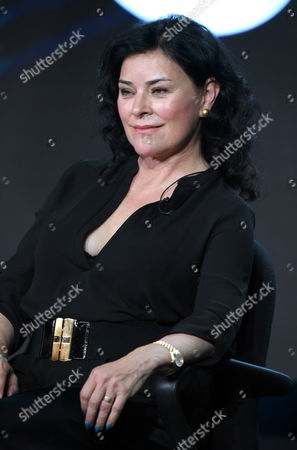 Author Diana Gabaldon participates in the panel for 'Outlander' at the STARZ 2016 Winter TCA, in Pasadena, Calif