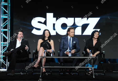 "Executive producer/showrunner Ronald D. Moore, from left, Caitriona Balfe, Sam Heughan and author Diana Gabaldon participate in the panel for ""Outlander"" at the STARZ 2016 Winter TCA, in Pasadena, Calif"