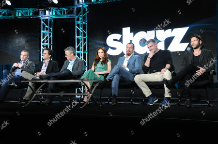 Executive producer/showrunner Jonathan E. Steinberg, from left, executive producers Robert Levine and Brad Fuller, Clara Paget, Toby Stephens, Ray Stevenson and Zach McGowan participate in the panel for 'Black Sails' at the STARZ 2016 Winter TCA, in Pasadena, Calif