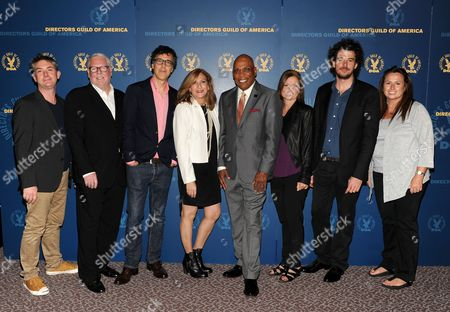 From left, nominee Jeremy Webb, director Louis J. Horovitz, nominees Robert Trachtenberg, Lesli Linka Glatter, Paris Barclay, Gail Mancuso, Garth Davis and Beth McCarthy-Miller attend the Academy of Television Arts & Sciences Directors Nominee Reception,, at the Directors Guild of America in Los Angeles, Calif