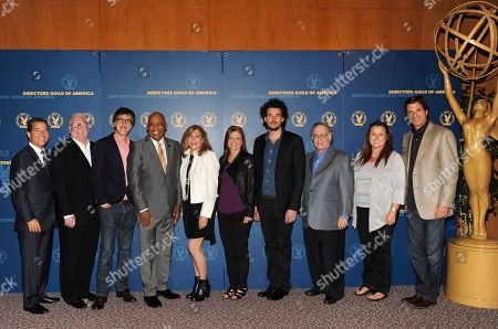From left, Academy Chairman & CEO Bruce Rosenblum, director Louis J. Horovitz, nominees Robert Trachtenberg, Paris Barclay, Lesli Linka Glatter, Gail Mancuso, Garth Davis, Lee Miller, Beth McCarthy-Miller and director Steven Levitan attend the Academy of Television Arts & Sciences Directors Nominee Reception,, at the Directors Guild of America in Los Angeles, Calif