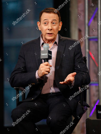 """Stock Picture of Actor Paul Reubens participates in AOL's BUILD Speaker Series to discuss his new film, """"Pee-wee's Big Holiday"""", at AOL Studios, in New York"""